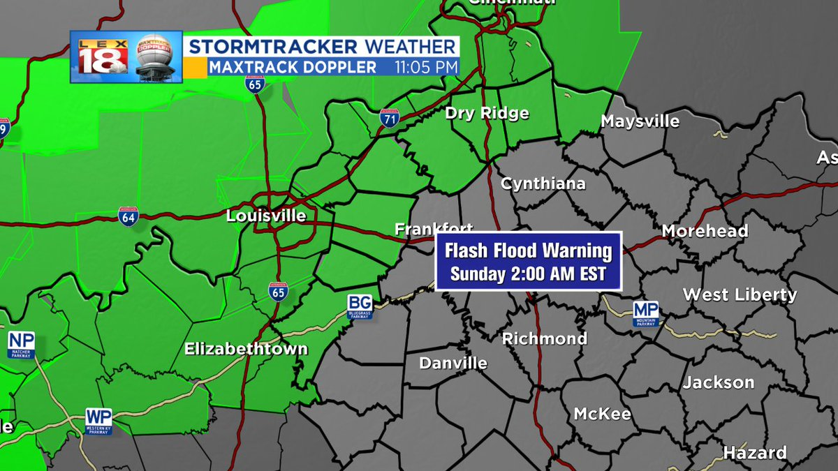 #FLASH FLOOD WARNING extended to cover Nelson, Spencer, Shelby and Owen Counties, until 2am. Heavy rain is occurring and flood conditions are present. #18StormTracker #kywx<br>http://pic.twitter.com/Uz0ZYjpRmQ