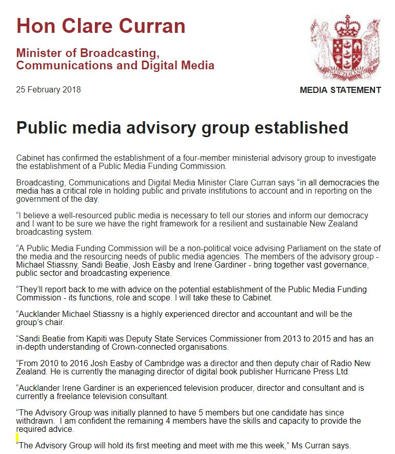 Clare Curran creates Public Media Funding Commission featuring Irene Gardiner (great), Josh Easby (hmn, maybe), plus bureaucrat Sandi Beatie (what?) and bean counter Michael 'you can never be on too many boards' Stiassny