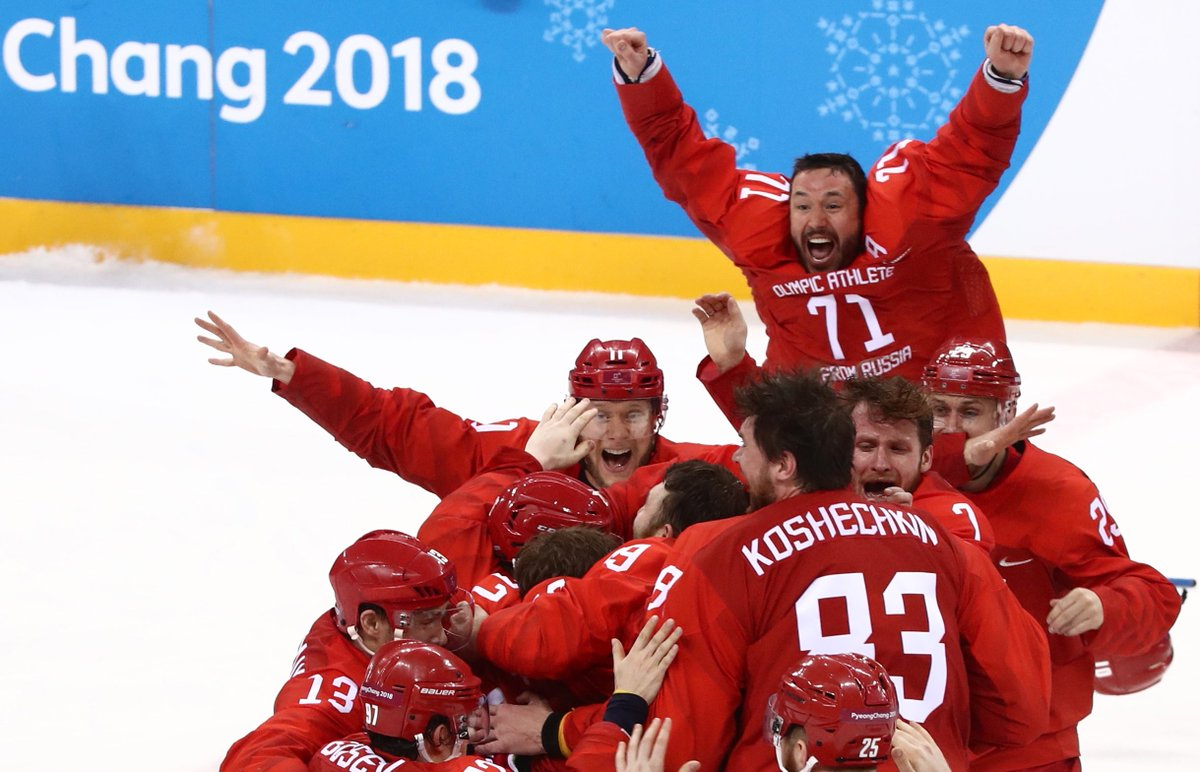 Gold! Olympic Athletes from Russia win against Germany in the men's hockey finals #PyeongChang2018 #OARvsGER  (Photo: Valery Sharifulin / TASS)