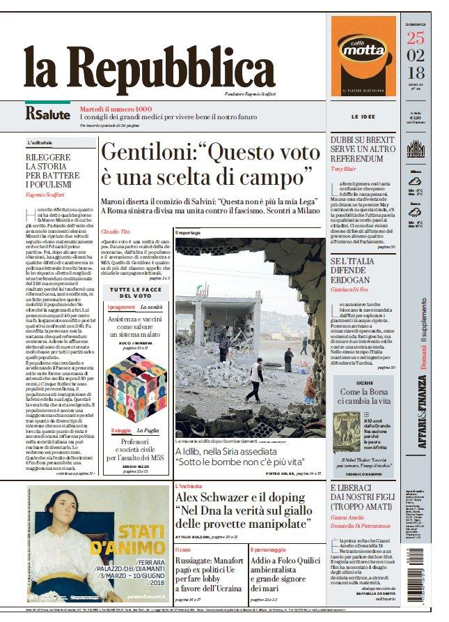 Gentiloni a Repubblica: 'Questo voto è una scelta di campo' - La prima pagina di Repubblica di oggi https://t.co/LZaZp2FObT