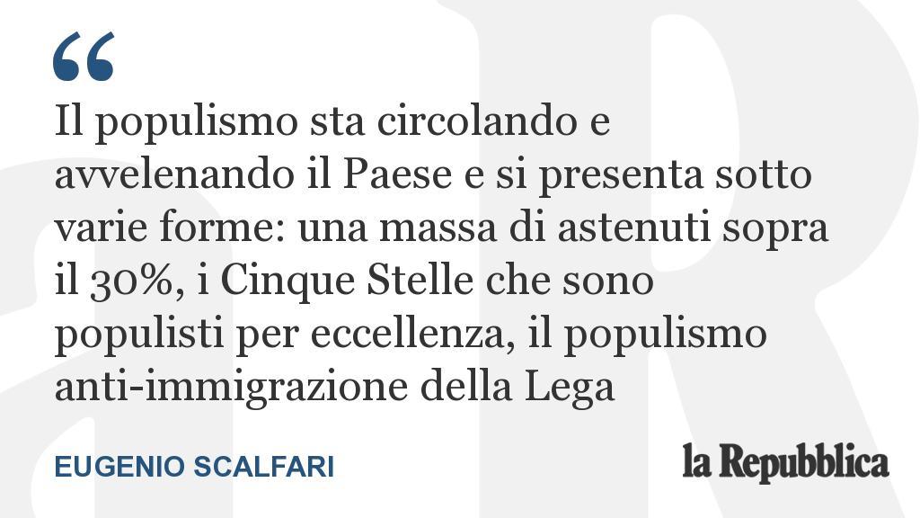 L'editoriale di Eugenio Scalfari: 'Il populismo non è ancora una maggioranza schiacciante perché trae spunto da diversi tipi di interesse che non si alleano tra loro' https://t.co/IEOo9NKtXm #Scalfari #25febbraio