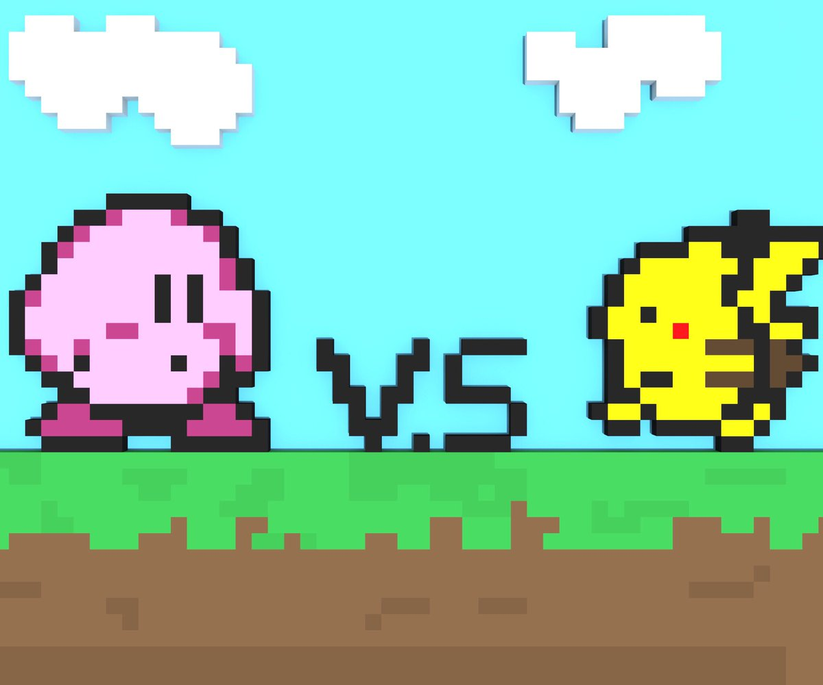 brandon gormley on twitter 8 bit kirby vs pikachu battle modeled