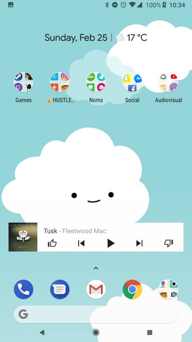 My new phone stylings make me happy. What a happy cloud https://t.co/Sl5reif8BY