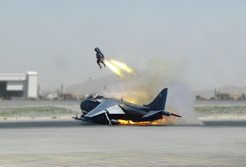 IMAGE: British pilot ejected from fighter jet as it crashed in Kandahar Airfield in Afghanistan.