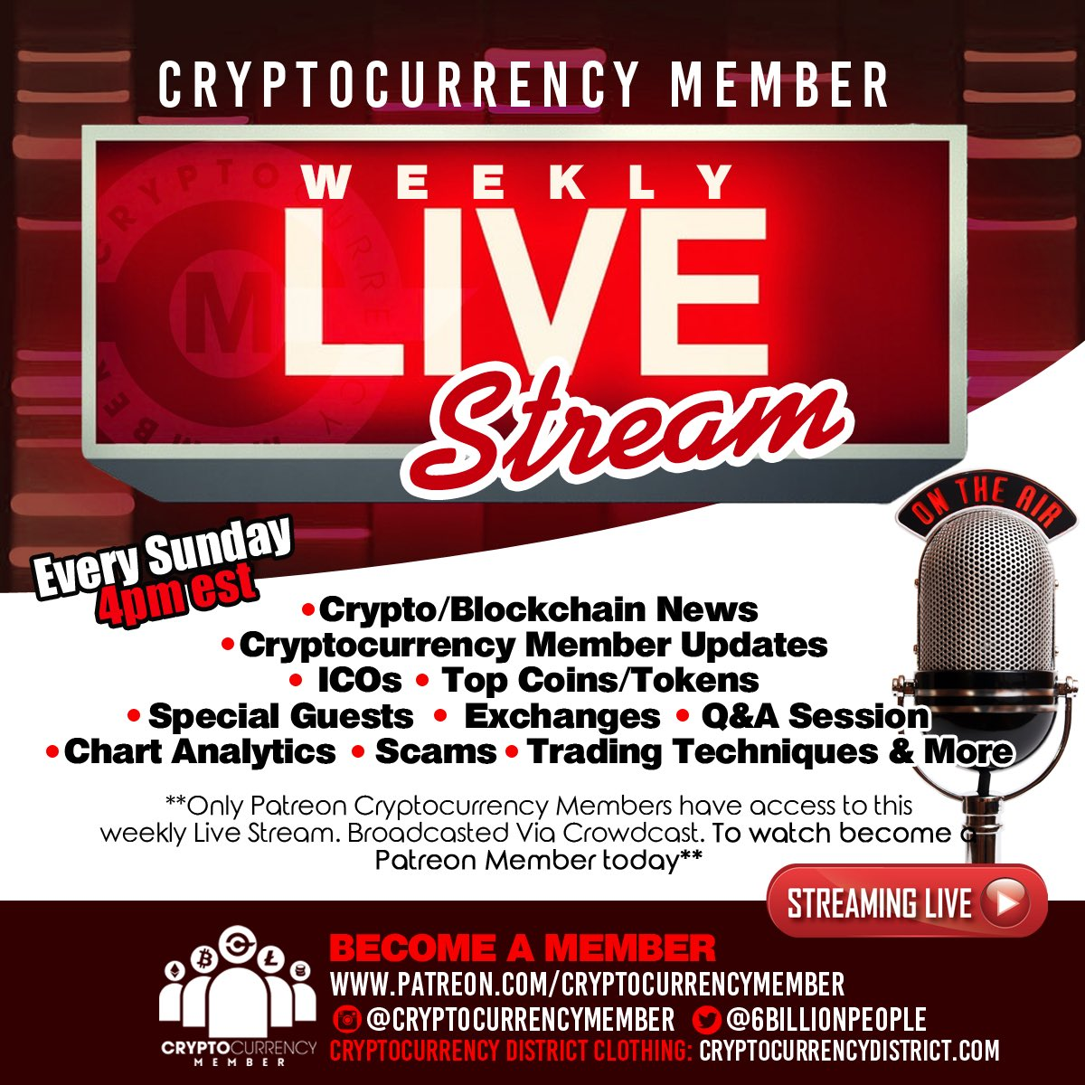 Live Stream Today at 4pm EST | If your into Cryptocurrency & Blockchain technology tune in! Today we are going over coin/token charts, portfolios and Q&As from people tuned in - Watch Live -  | (RETWhttps://t.co/XcYvgAT51REET)