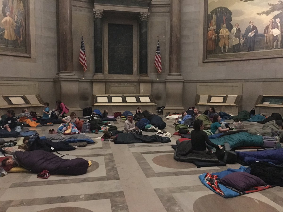 Our guests woke up next to the Constitution after a restful night's sleep on the marble floor #ArchivesSleepover