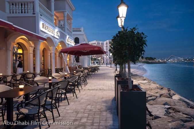 Venetian village, a stunning location adjacent to the Sheikh Zayed Grand Mosque and canal views make this restaurant a must visit place in Abu Dhabi. this restaurant is a new concept of alfresco dining in a beautiful waterfront setting which makes it the perfect place to film in.