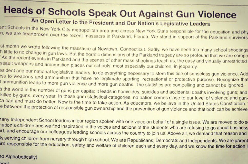 IF YOU READ ONE THING TODAY, MAKE IT THIS 👇! 155 Heads of Schools pen an open letter in today's @nytimes to law makers on the urgent need for gun control.   Will CEOs get together & follow suit? #onething