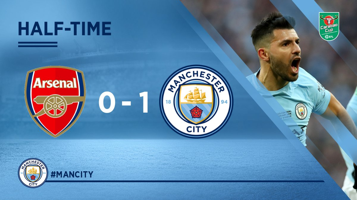 HALF-TIME | 🔴 0-1 🔵 #mancity 🏆  @aguerosergiokun's 199th City goal is the difference at Wembley so far...