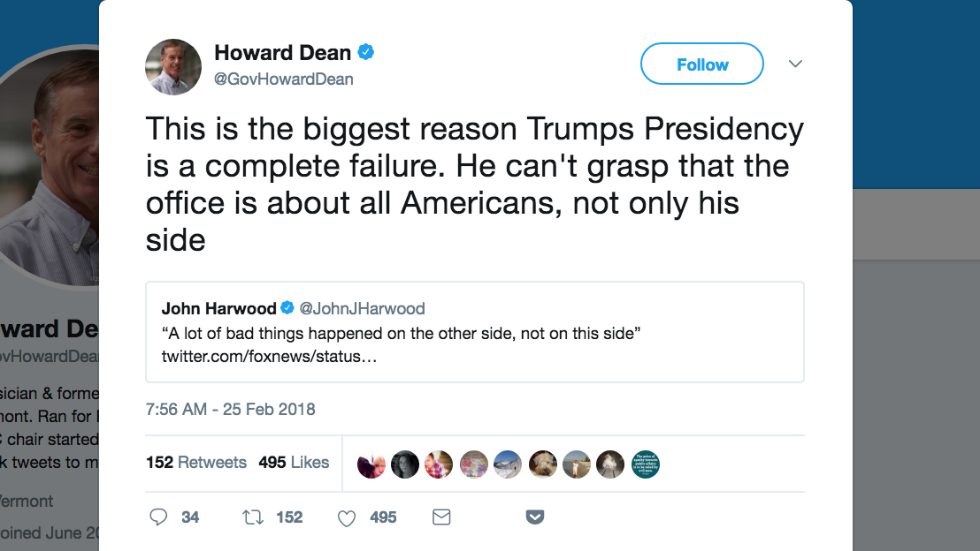 Howard Dean tears into Trump: He can't 'grasp that the office is about all Americans, not only his side' https://t.co/4CUTpixOk2