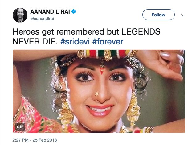Tributes poured in from the world of Bollywood as the sudden death o #Sridevif , one of India's most celebrated actresshttps://t.co/LUZRN0azQfes