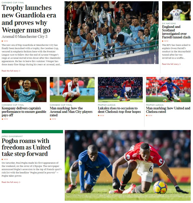 NEW at https://t.co/3bGH8NcsaV:  ️⚽️ #CarabaoCupFinal report from @henrywinter, analysis of Kompany's display by @hirstclass & ratings  ️⚽️ United 2 Chelsea 1 report from  & '@pjoyceexpresss an@JamesGheerbrantalysis  🥇  on t@DickinsonTimeshe issue of British Olympic funding