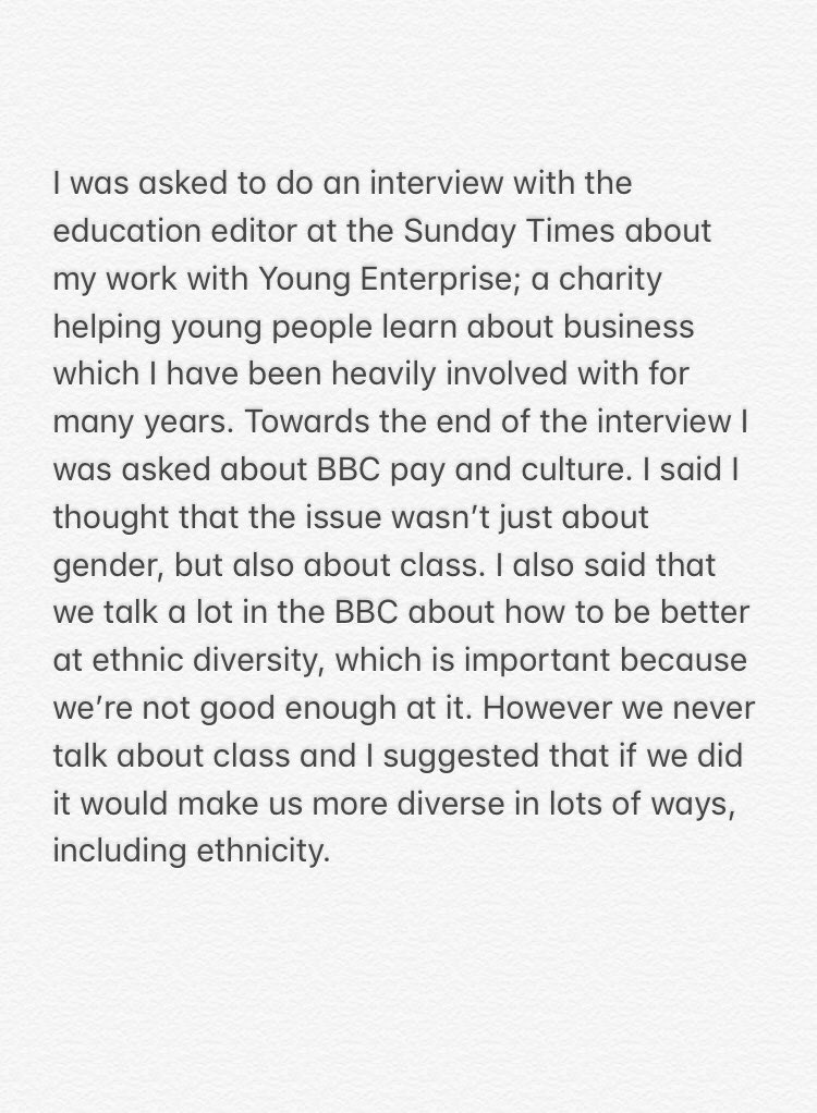 There's a lot in the press today about my comments on class. Here is what happened: