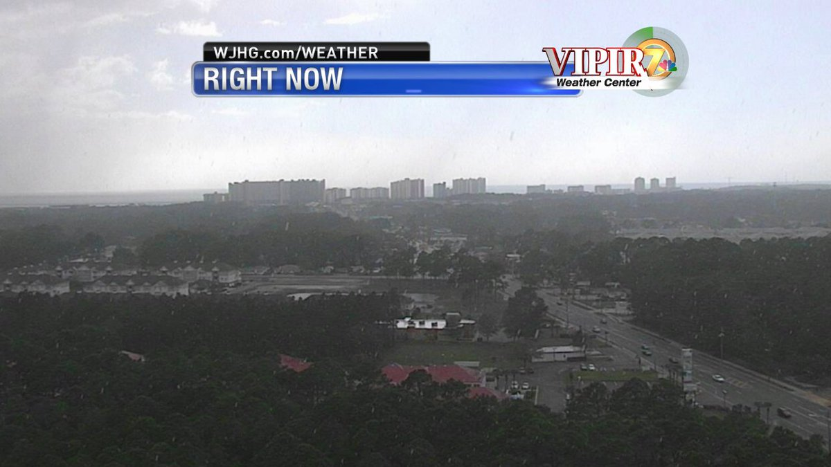 TYPICAL FLORIDA! It's raining in Panama City Beach right now, but not too far in the distance is clear, blue skies! What are you seeing right now?