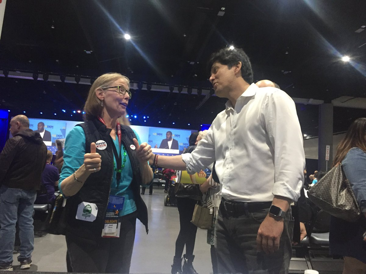 State Senate Pro Tem @kdeleon greets delegates Sunday after endorsement vote, says now fundraising will be the challenge against @SenFeinstein