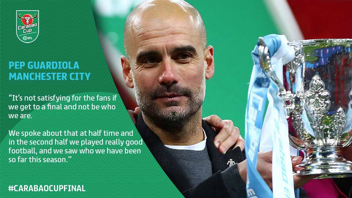 Pep Guardiola tasted trophy-clinching success for the first time in English football today. His views on winning the #CarabaoCup >> po.st/PepCCF18