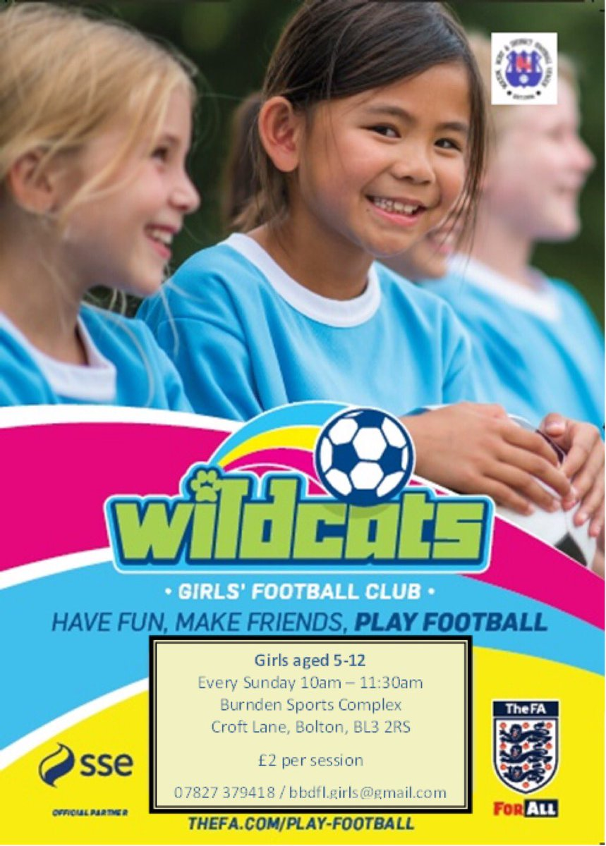 Do you know a 5-12 year old girl who would love to play football?    Bring her along to our #SSEWildcats training sessions held every Sunday @BurndenPark.  No previous experience necessary.   👧🏻👧🏼👧🏽👧🏾👧🏿  🏟 @BurndenPark (BL3 2RS) 📅 Every Sunday ⏰ 10:00 - 11:30am 💷 £2