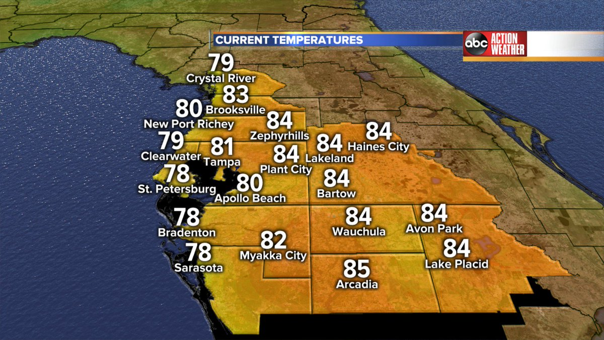 Another perfect weather day here in West Central #Florida. Join me at 6 on @abcactionnews. More heat but a big cool down is in the 7 day! #Tampa #TampaBay #LoveFL
