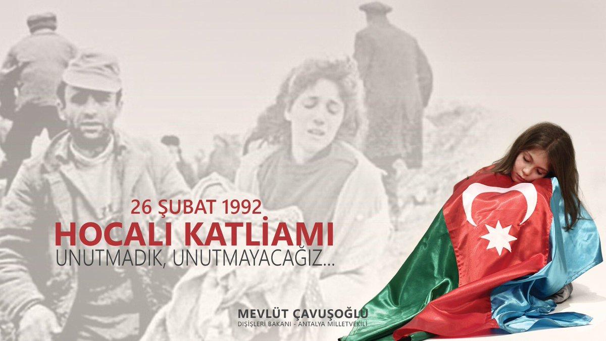 Ermeni güçleri, 26 Şubat 1992'de #Azerbaycan toprağı Yukarı Karabağ'daki #Hocalı kasabasında yüzlerce Azerbaycanlı masum kardeşimizi, soydaşımızı hunharca katletti. #HocalıKatliamı'nı unutmadık, unutturmayacağız; tekrar yaşanmasına da asla izin vermeyeceğiz.