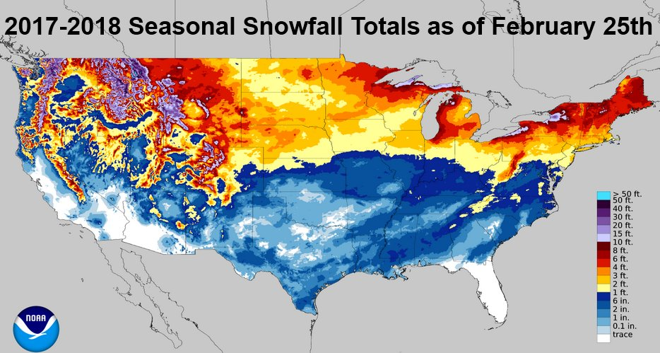 Nws Eastern Region On Twitter Updated 2017 2018 Seasonal Snowfall