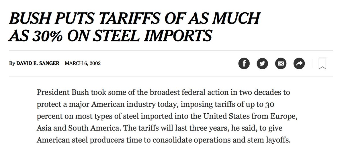 If you're wondering what kind of Republican would consider steep tariffs on steel to be a good idea, the answer is George W Bush.  https://t.co/vxaodLe5ZN