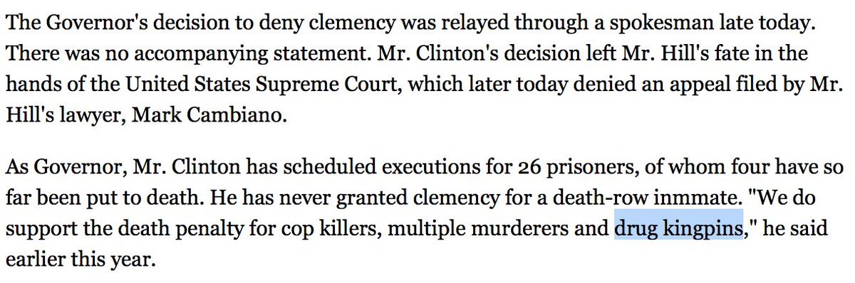 25 years ago, Bill Clinton wanted to execute major drug dealers.   https://t.co/baYMMX55LO