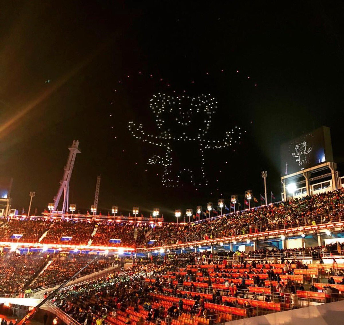 the #ClosingCeremony gave me soohorang made of drones in the sky, what could be better?? 🌌🐻💞