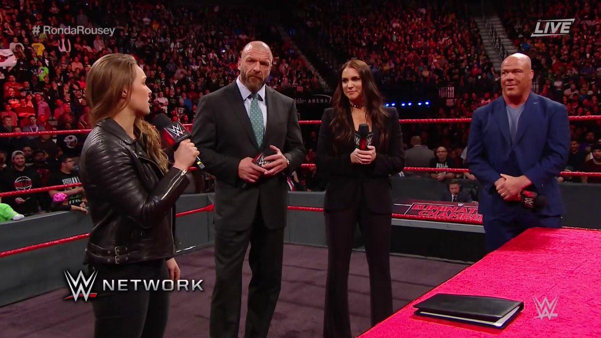 Rowdy @RondaRousey had a message for the @WWEUniverse when she arrived at #WWEChamber to sign her #RAW contract!