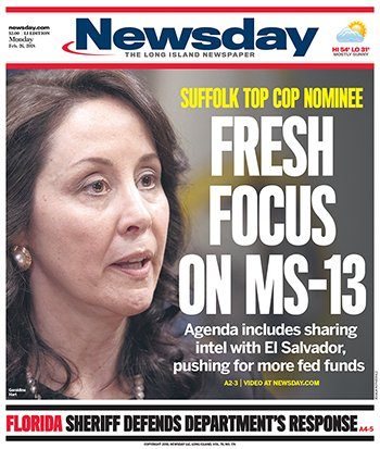Monday's @Newsday cover: Suffolk Police Commissioner nominee Geraldine Hart said she wants to work closely with authorities in El Salvador to help fight the deadly MS-13 gang's activities in the county https://t.co/w3i5FUkazP