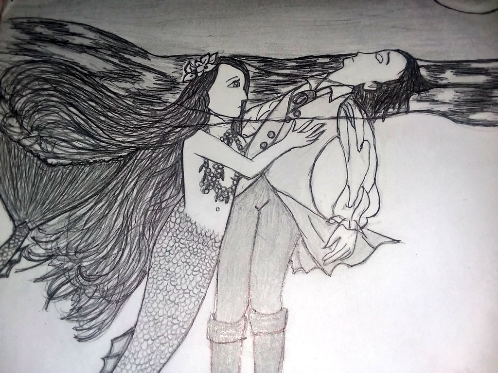 I did a drawing of the scene from Hans Christian Andersens most wonderful fairytale The Little Mermaid, where the mermaid is saving her prince from the sea.💖🌹✏⚜💎☄