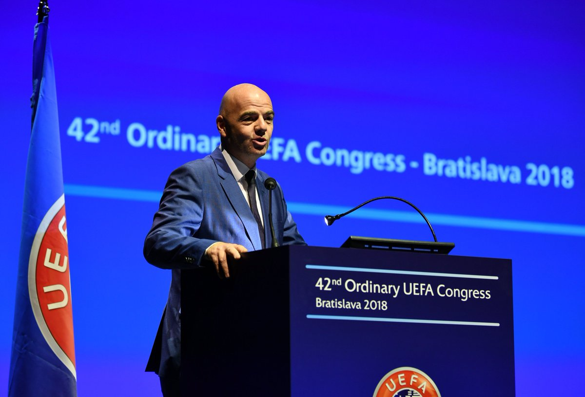 Uefa On Twitter Fifa President Gianni Infantino Gives His Address To Uefacongress
