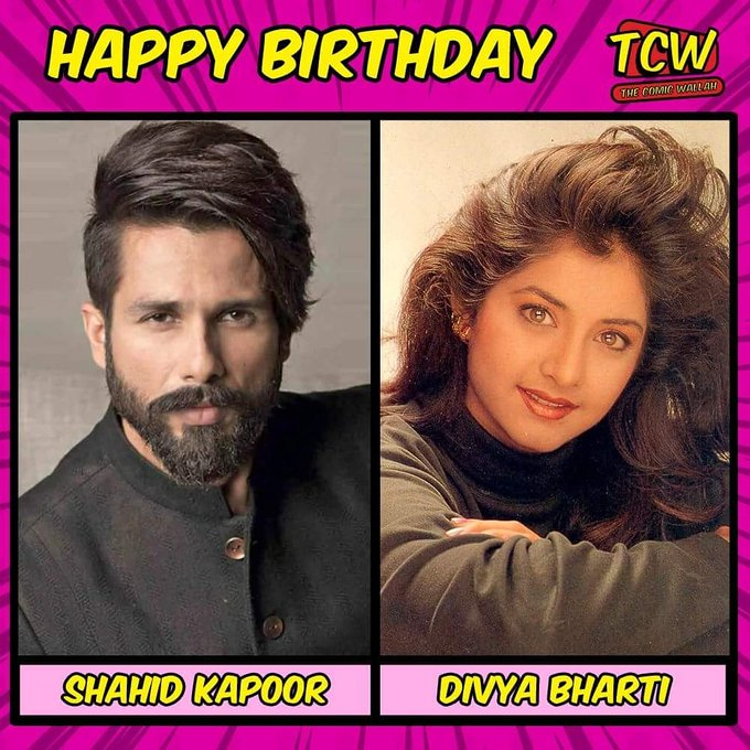 Wishing smart and dashing Shahid Kapoor and beautiful Divya Bharti a very Happy Birthday.