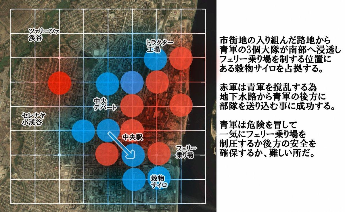 大戦略のスターリングラード攻防戦っぽく九路盤紹介。九路盤だと市街戦っぽくて、お互いの勢力図がすごい動きそう。