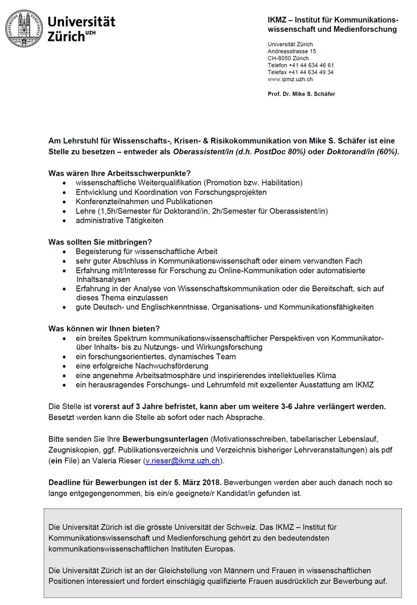 Mike S Schäfer On Twitter Interested In Research Digital Media Social Science Looking For A Phd Or Postdoc Position In Zurich At Uzh Ikmz Apply For A Position In My Team Deadline