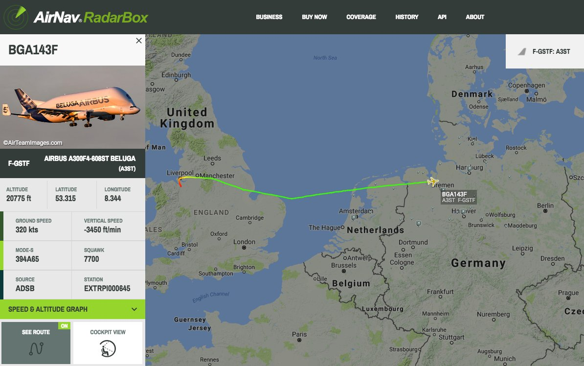 Airbus Beluga on approach to Hamburg is declaring an emergency #radarbox https://t.co/FzUVbrAw5D