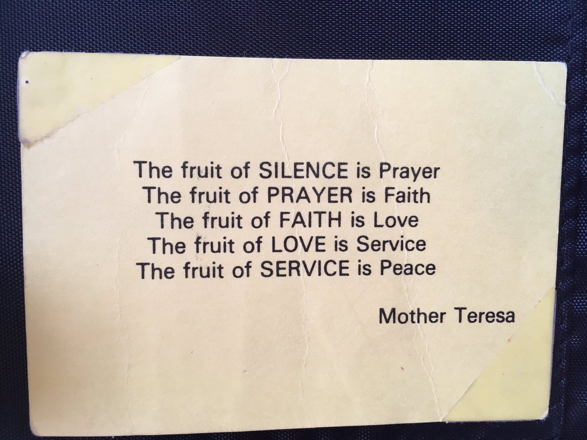 Mother Teresa gave me this, which she jokingly called her business card, in 1996. It is a prayer that she wrote.  Someone got a lot of these printed for her and she would give them to volunteers on their last day in India.  Such a treasure.  #motherteresa #saintmotherteresa