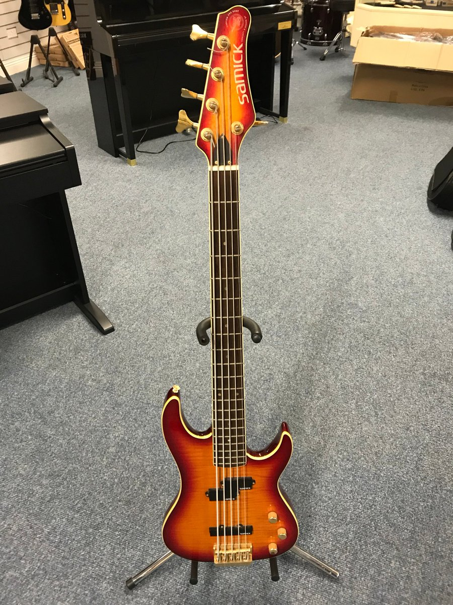 a samick 5 string bass designed by valley arts  call in for a play at  culbertson music coleraine 7 ballycastle road, coleraine