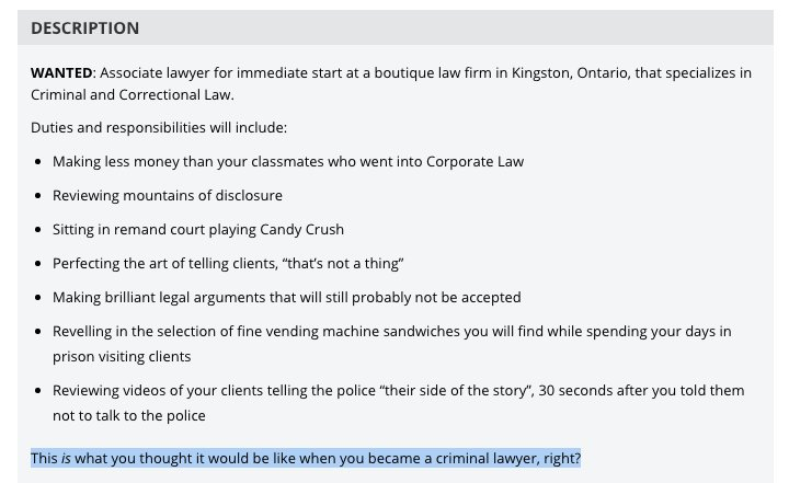 The Beginning Of An AMAZING Job Posting For An Associate Criminal Defense  Lawyer In Ontario. ...