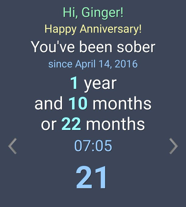 Today is 22 months sober from alcohol for me 😊 https://t.co/KNyEpZ4nJs