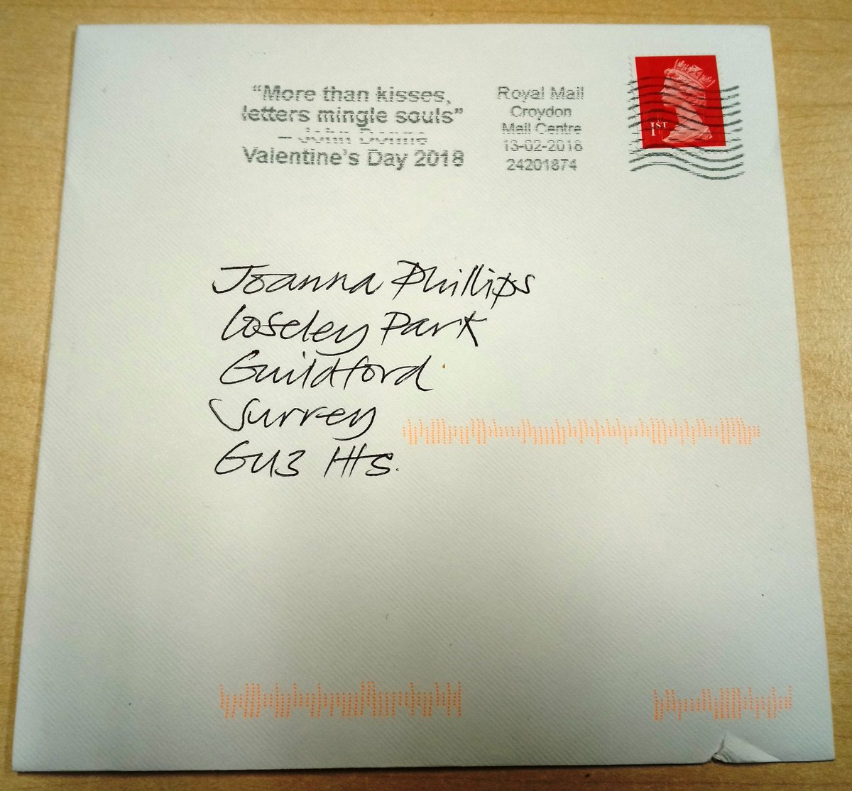 """Loving the @RoyalMail Valentine's post mark with John Donne's quote """"More than kisses, letters mingle souls"""". I expect he wrote Ann More (daughter of Loseley) many letters when he was secretly courting her. And before you ask, not a Valentine but a clever piece of marketing!"""