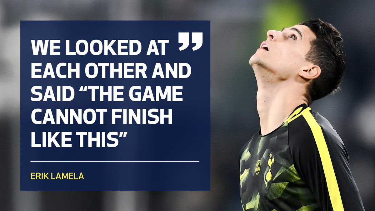This mentality. 💪 🙌   💬 @ErikLamela on our superb comeback in Turin ▶️ spurs.to/LamelaJuventus   #COYS