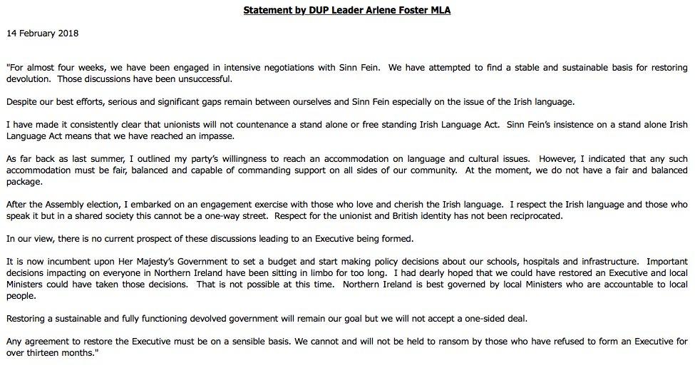 Hugh Oconnell On Twitter Breaking Dup Leader Arlene Foster Says
