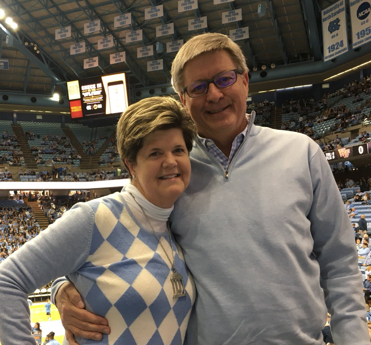 Gray Stewart, UNC '84, gets credit for connecting these two Tar Heels over 30 years ago. Jerry, UNC '82, and Sarah, UNC' 84, met just to play tennis and the rest is history…a Rx Tar Heel family for life. Happy Valentines Day! #UNCPharmacy https://t.co/DSuEZrwppw