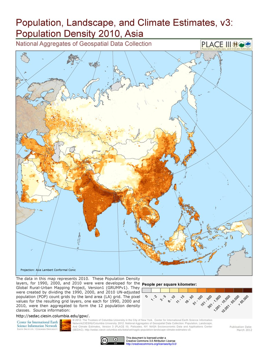 population density map of asia the big white spots in western china and in mongolia are in stark contrast to the south and east of asia