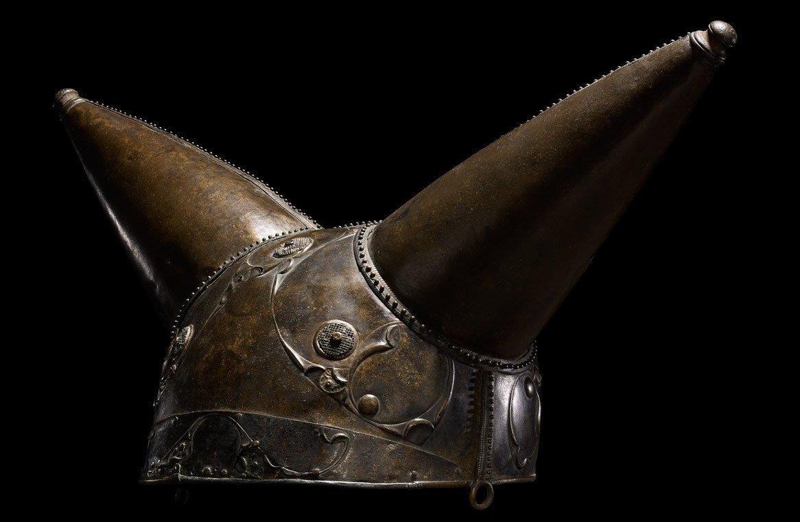 Ceremonial gilded iron helmet dating to the la tene