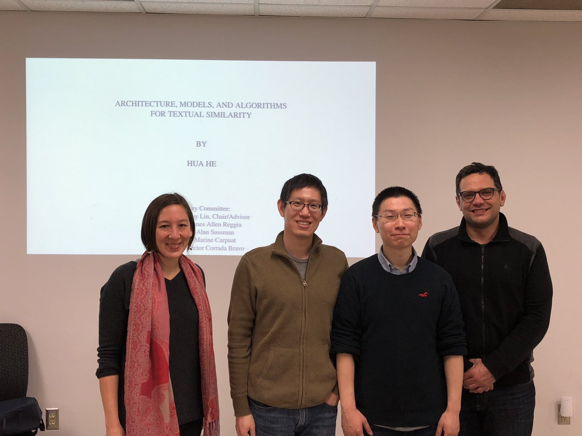 Belated congratulations to Dr. Hua He, who successfully defended his Ph.D. dissertation last week at the University of Maryland @umdcs!