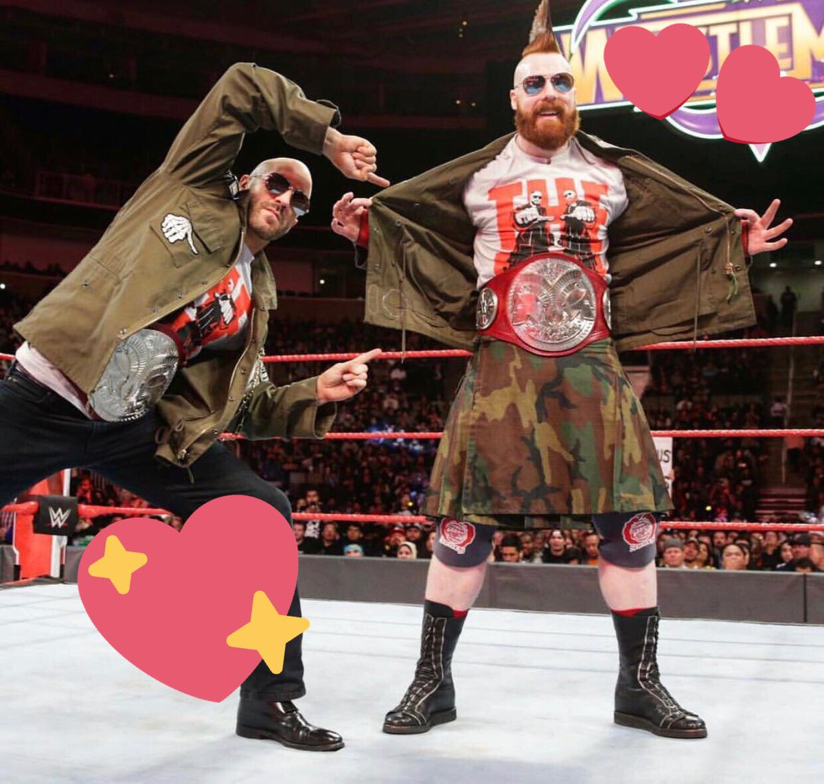 RAW is Red, Smackdown is Blue & Bizarre. In Love with OUR Tag Team Titles, WE ARE THE BAR. #Valentines2018