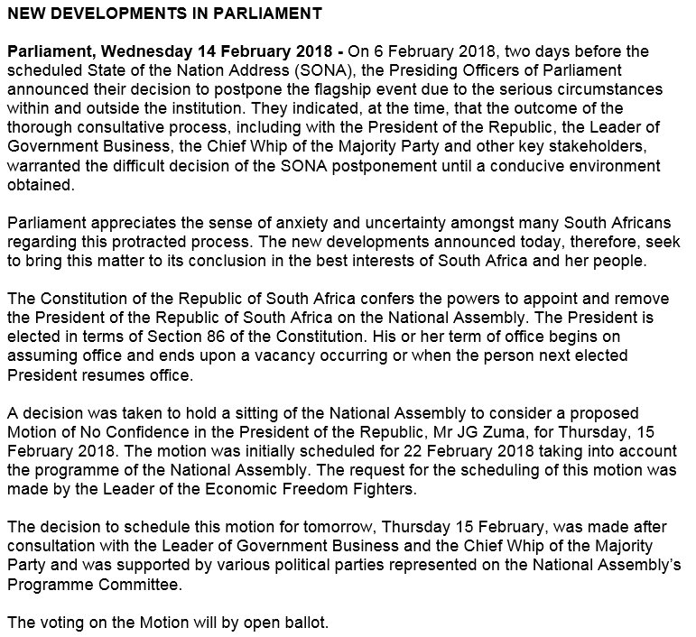 Parliament Of Rsa On Twitter New Developments In Parliament Https