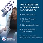 .@LACountyDCBA's #smallbusiness events are great opportunities to meet face to face with @Countyofla buyers. #DYK certified vendors get notified of events first? Register and certify today. Contact a small business counselor for more info. https://t.co/ADnQBsRduu