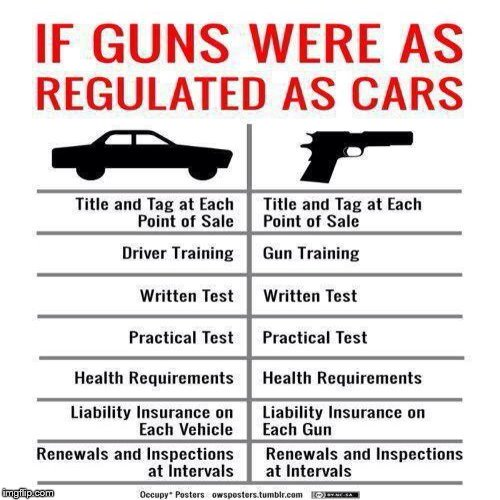 Can owning a gun be at least as regulated as owning a car? #GunControlNow #guncontrol #thoughtsandprayers #NRA #parklandshooting #TheResistance #MAGA #Trump #FoxNews #Resist #ImpeachTrump
